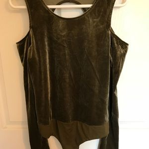 Olive Green Velour Body Suit Size L